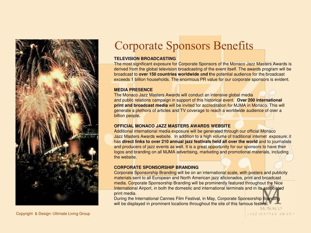 Corporate Sponsors Benefits