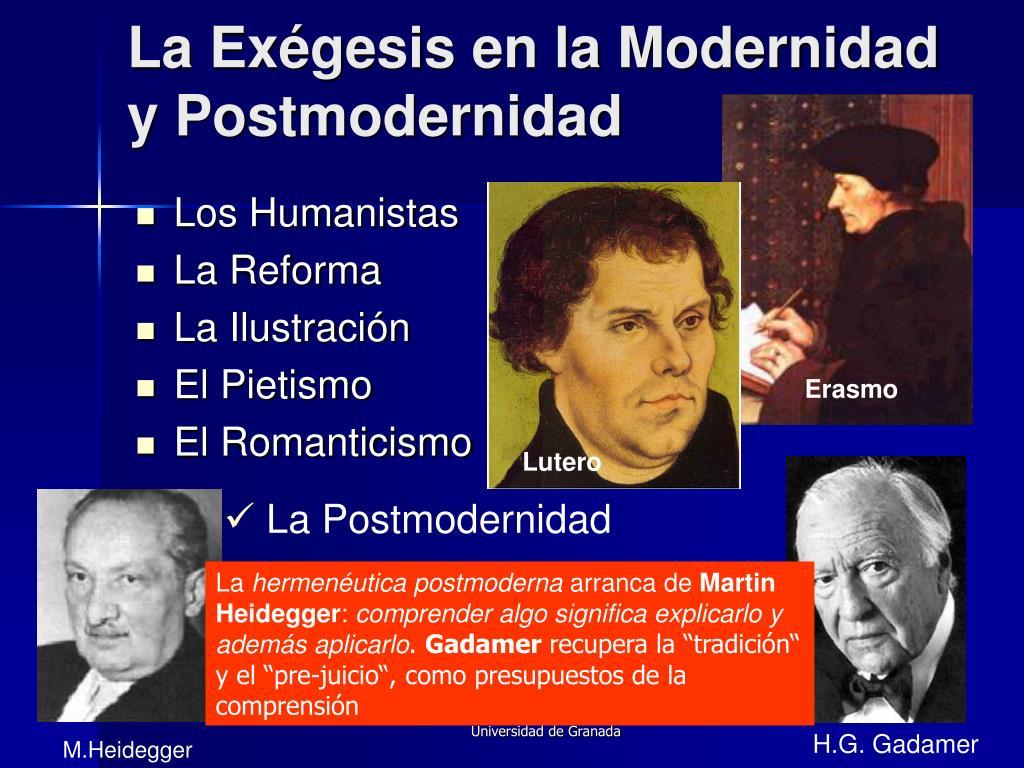 La Exégesis en la Modernidad y Postmodernidad