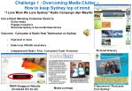 challenge 1 overcoming media clutter how to keep sydney top of mind