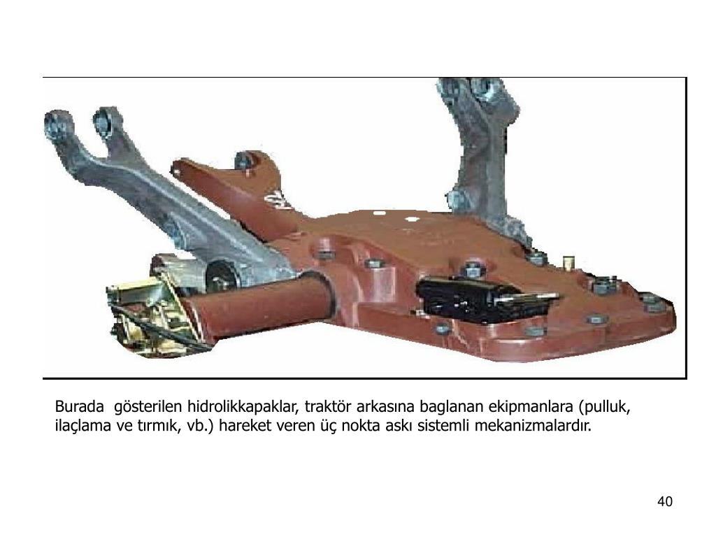 Burada  gösterilen hidrolikkapaklar, traktör arkasına baglanan ekipmanlara (pulluk, ilaçlama ve tırmık, vb.) hareket veren üç nokta askı sistemli mekanizmalardır.