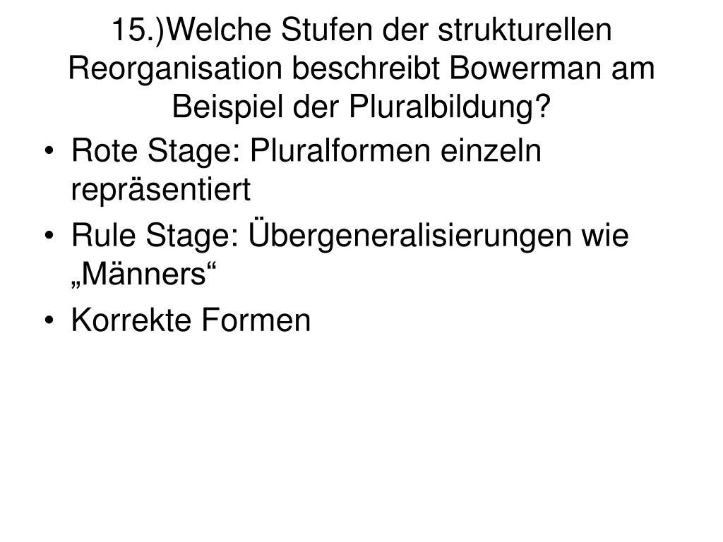 15.)Welche Stufen der strukturellen Reorganisation beschreibt Bowerman am Beispiel der Pluralbildung?