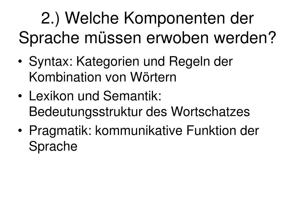 2.) Welche Komponenten der Sprache müssen erwoben werden?
