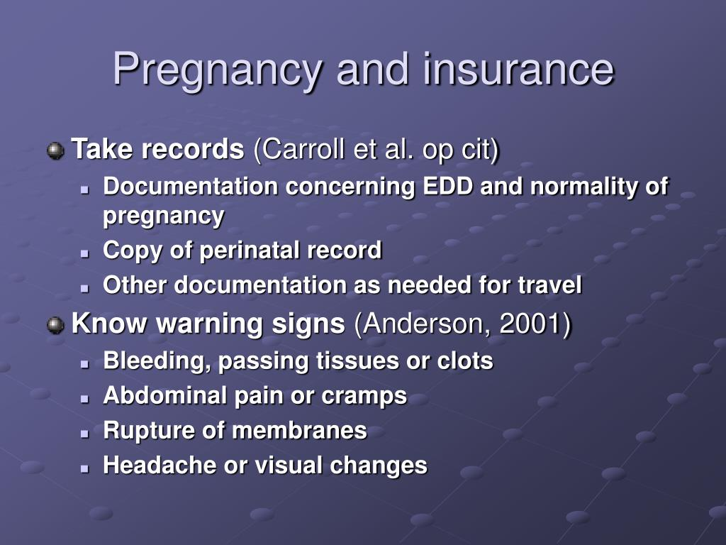 Pregnancy and insurance