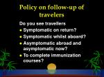 policy on follow up of travelers