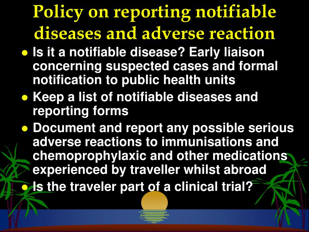 Policy on reporting notifiable diseases and adverse reaction