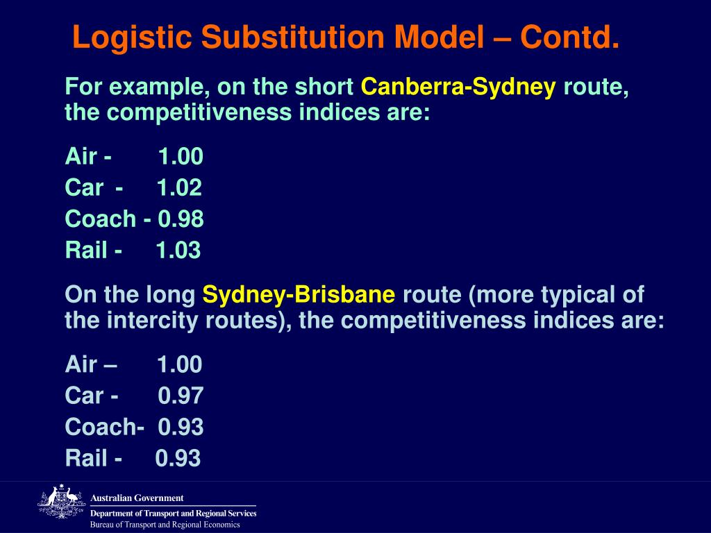 Logistic Substitution Model – Contd.