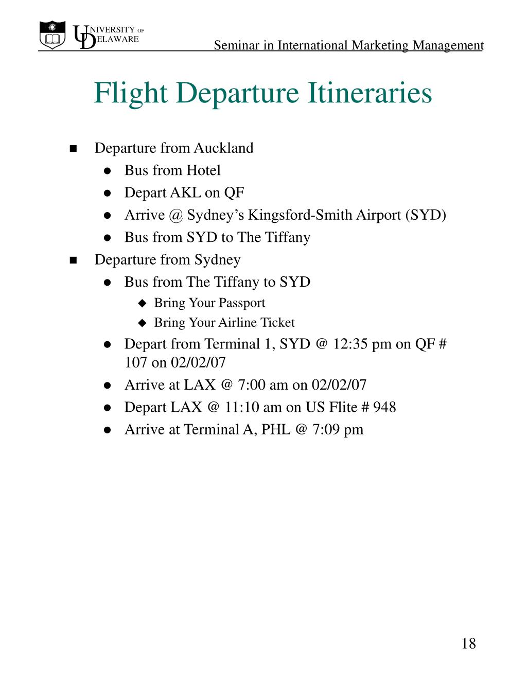 Flight Departure Itineraries