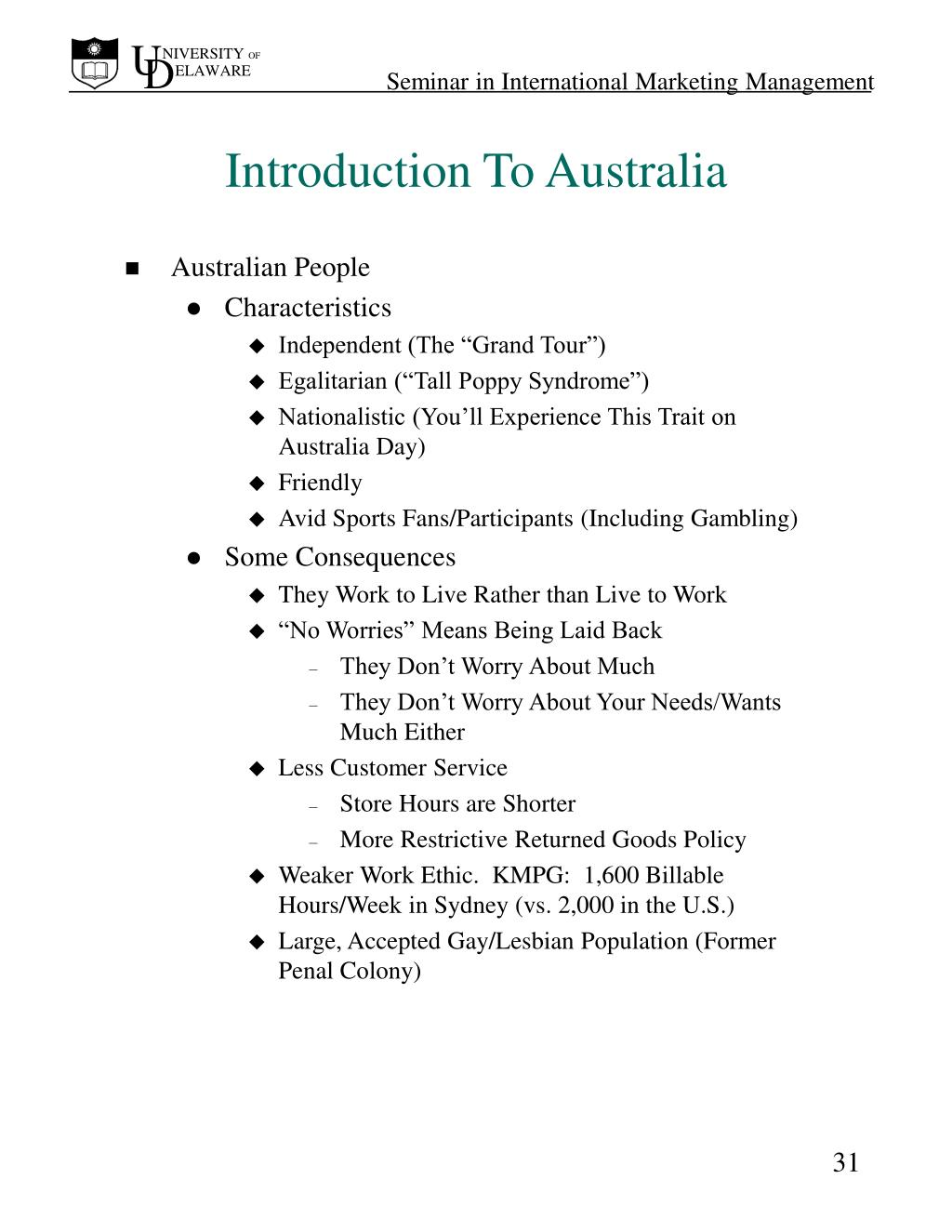 Introduction To Australia