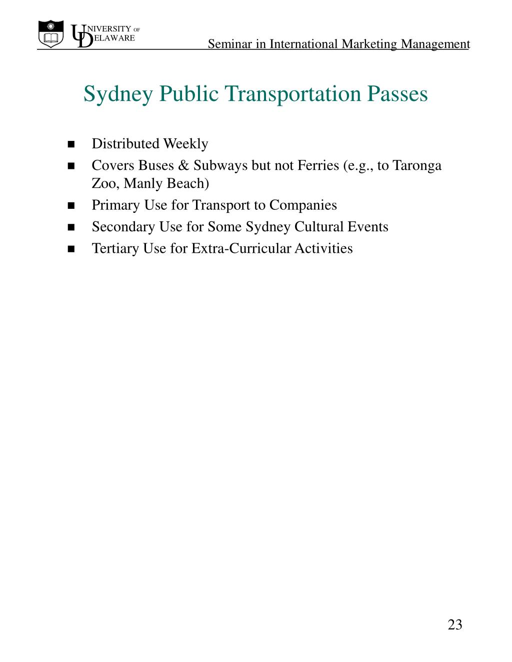 Sydney Public Transportation Passes