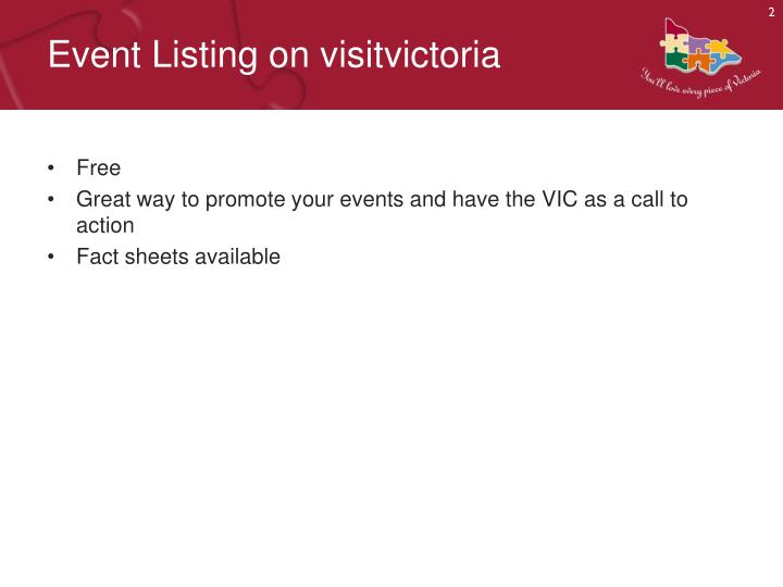 Event listing on visitvictoria