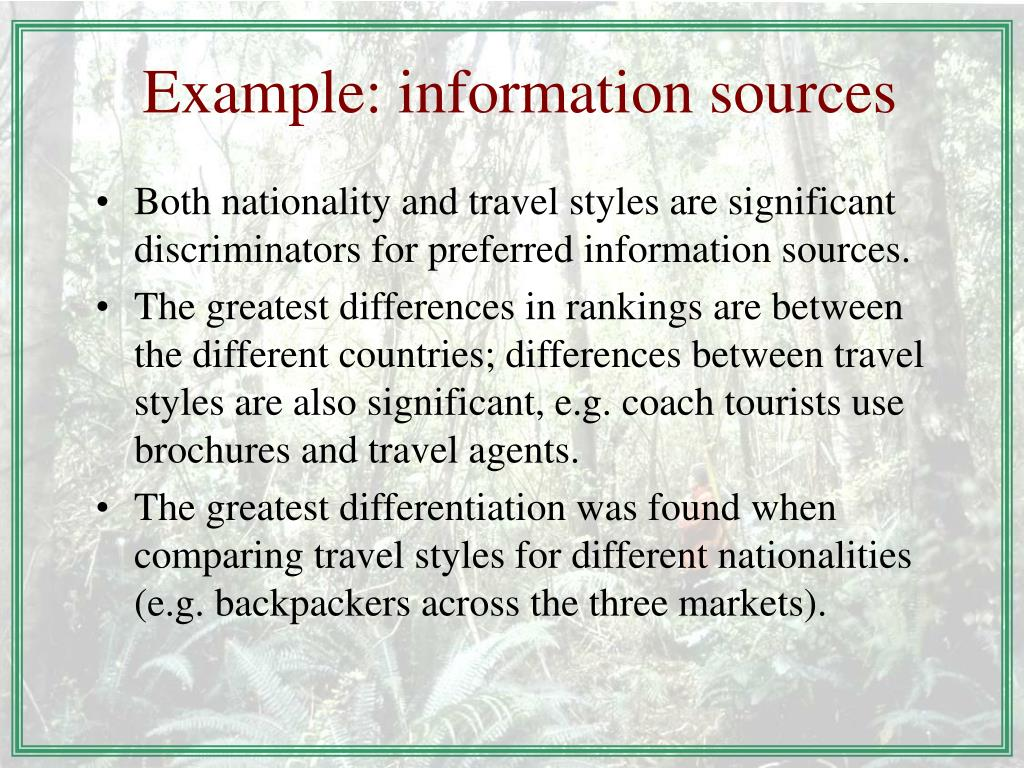 Example: information sources