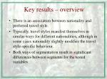 key results overview