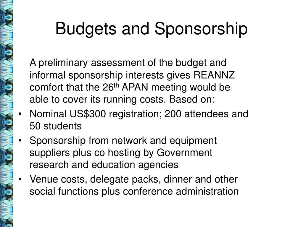 Budgets and Sponsorship
