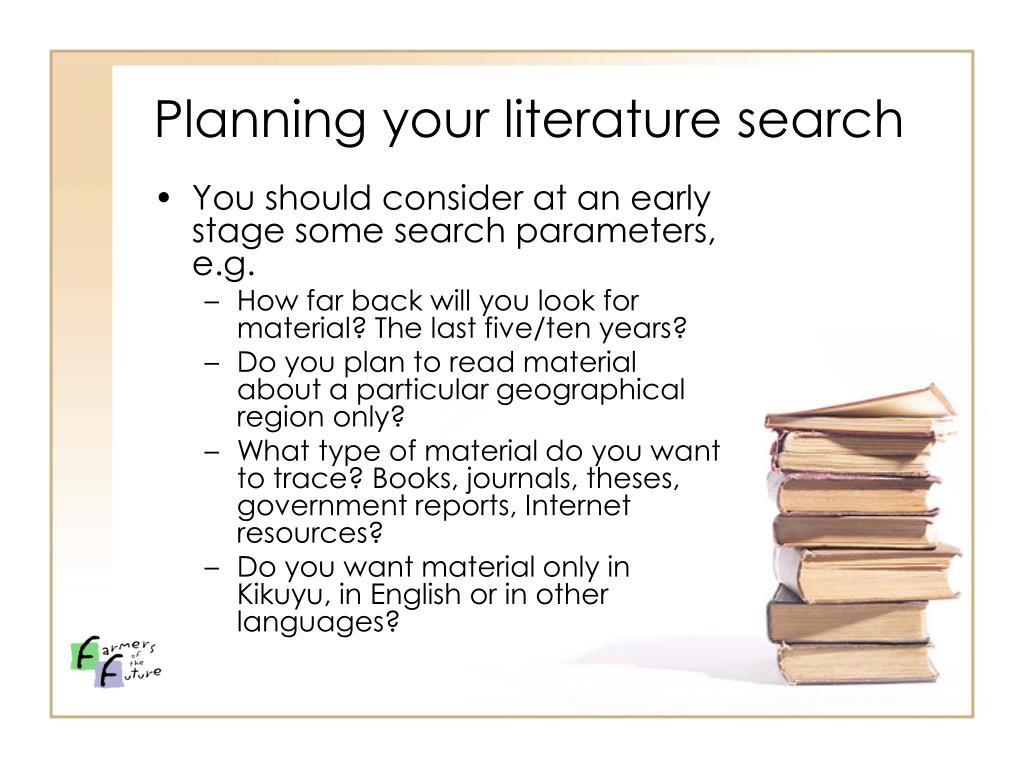 Planning your literature search