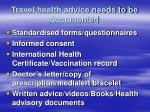 travel health advice needs to be documented45