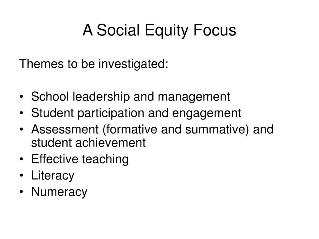 A Social Equity Focus