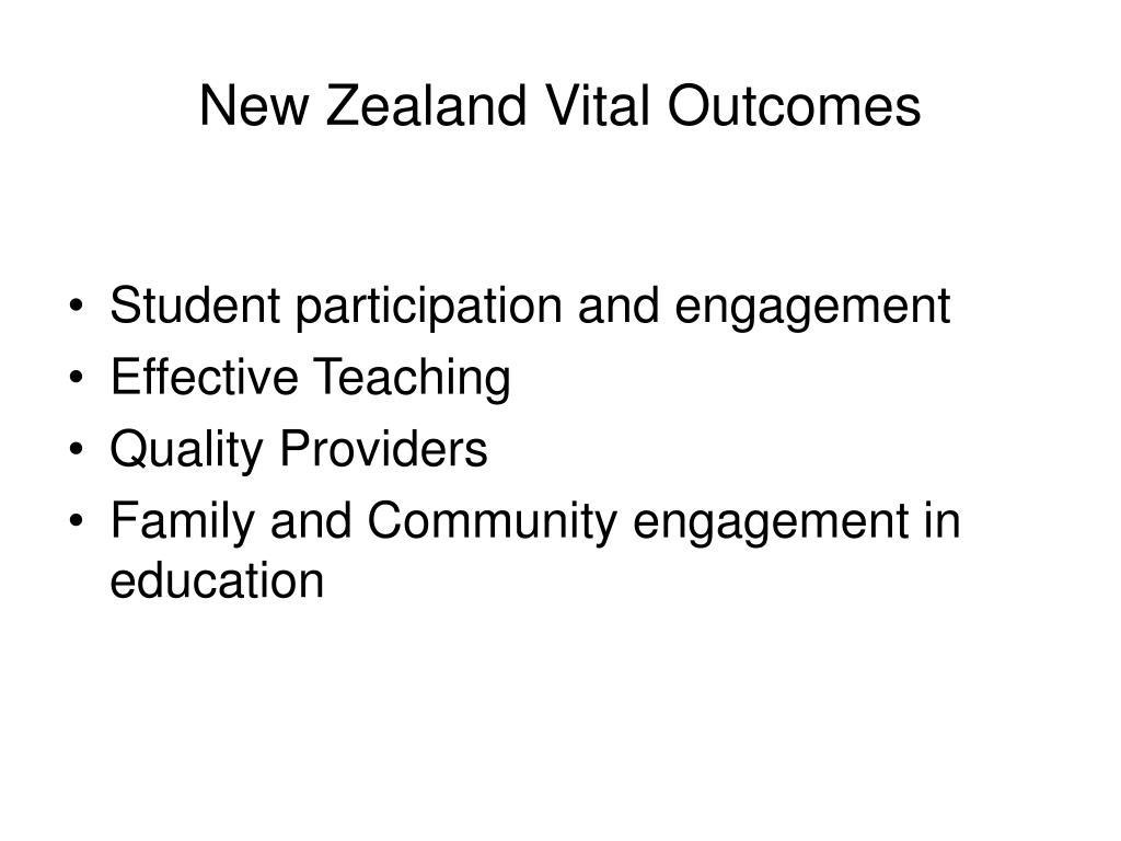 New Zealand Vital Outcomes
