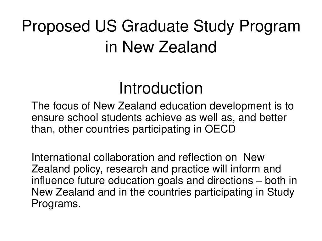 Proposed US Graduate Study Program