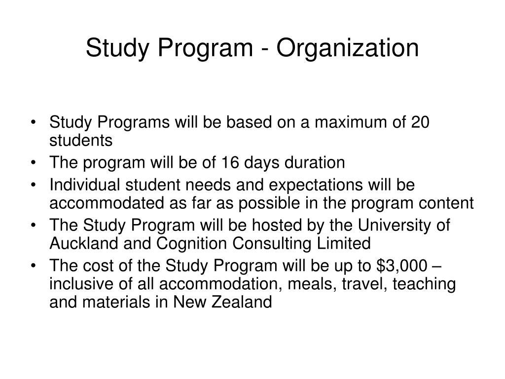 Study Program - Organization