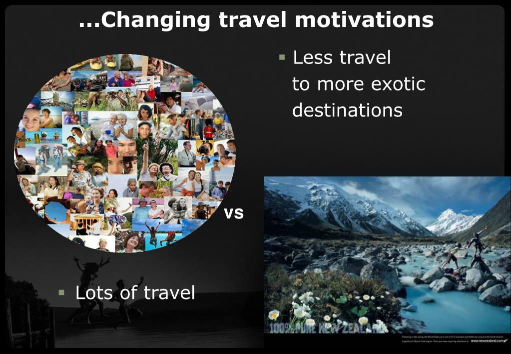 ...Changing travel motivations