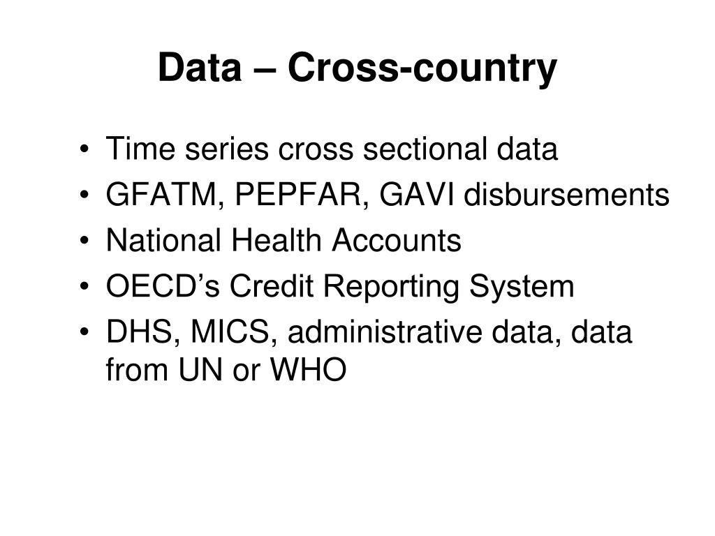 Data – Cross-country