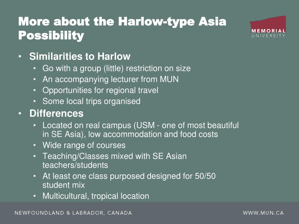 More about the Harlow-type Asia Possibility