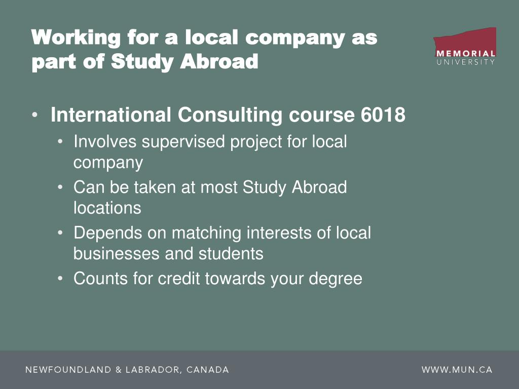 Working for a local company as part of Study Abroad