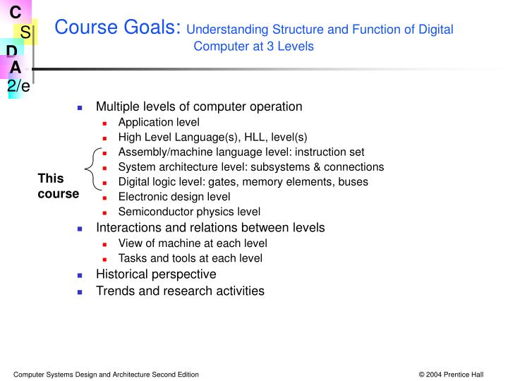 Course goals understanding structure and function of digital computer at 3 levels