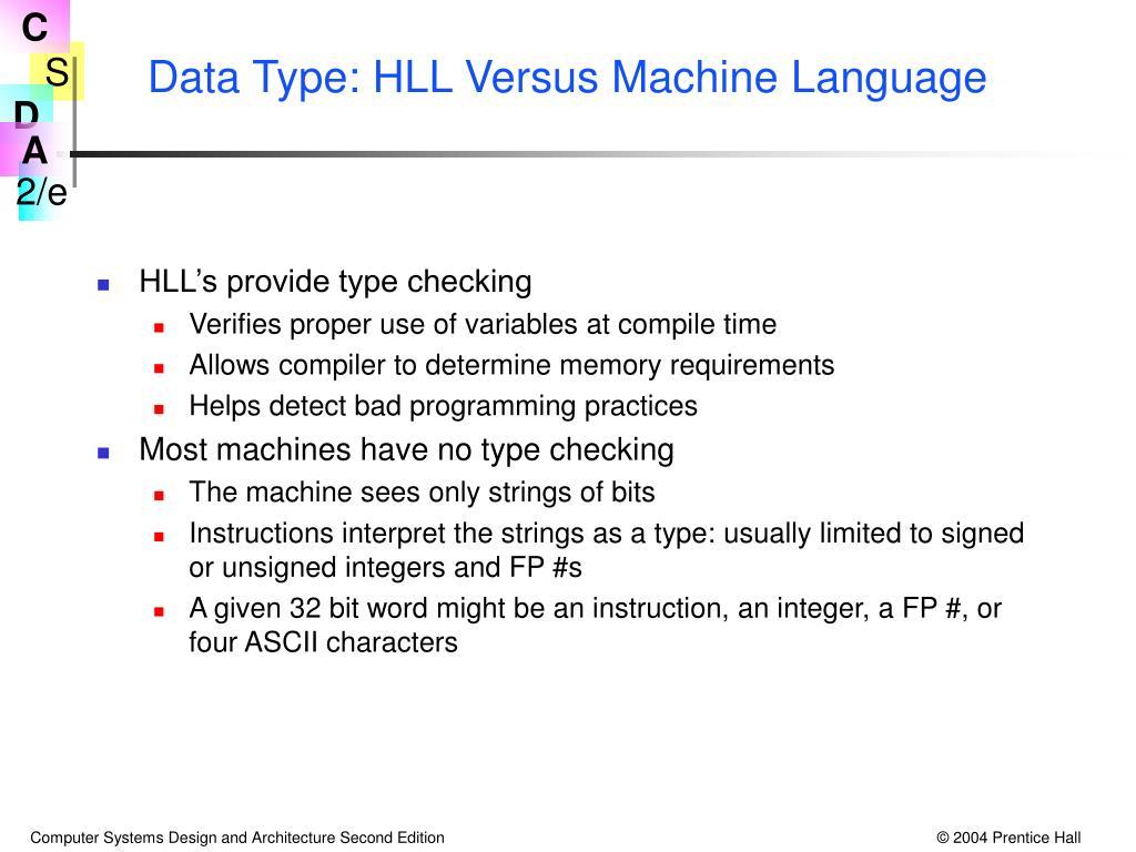 Data Type: HLL Versus Machine Language