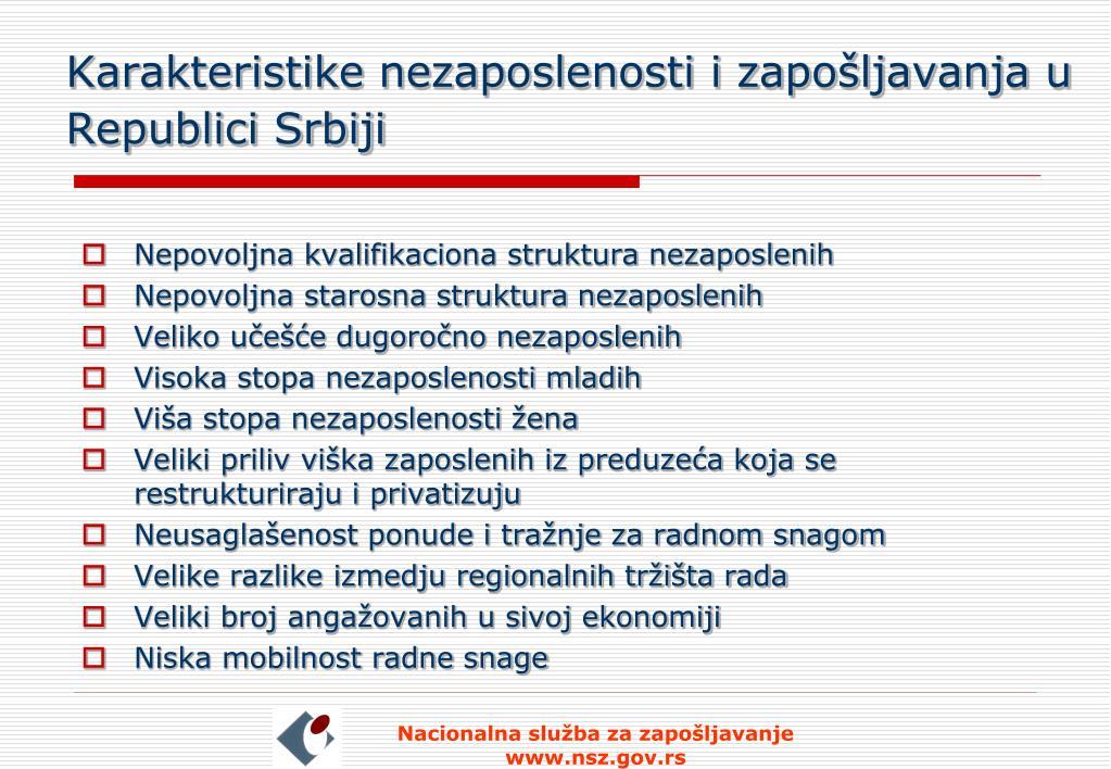 Karakteristike nezaposlenosti i zapošljavanja u Republici Srbiji