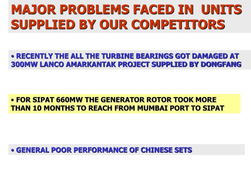 MAJOR PROBLEMS FACED IN  UNITS SUPPLIED BY OUR COMPETITORS
