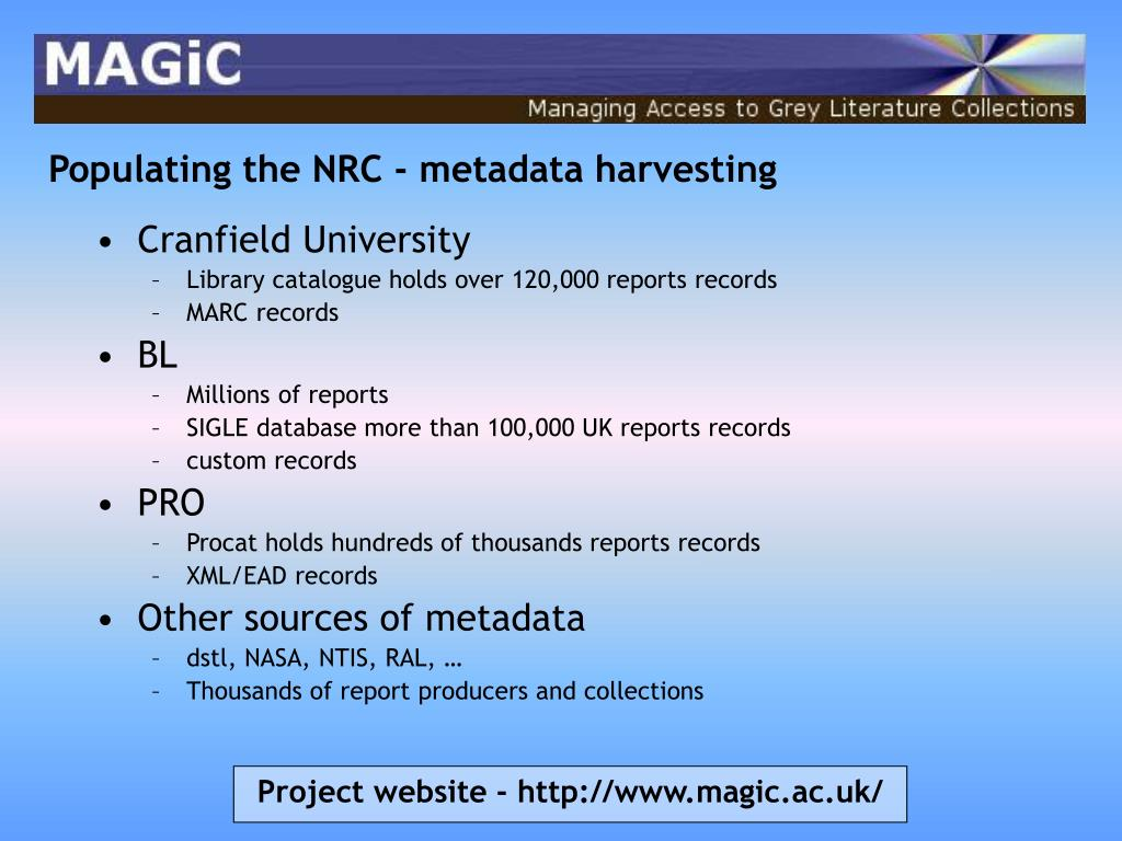 Populating the NRC - metadata harvesting