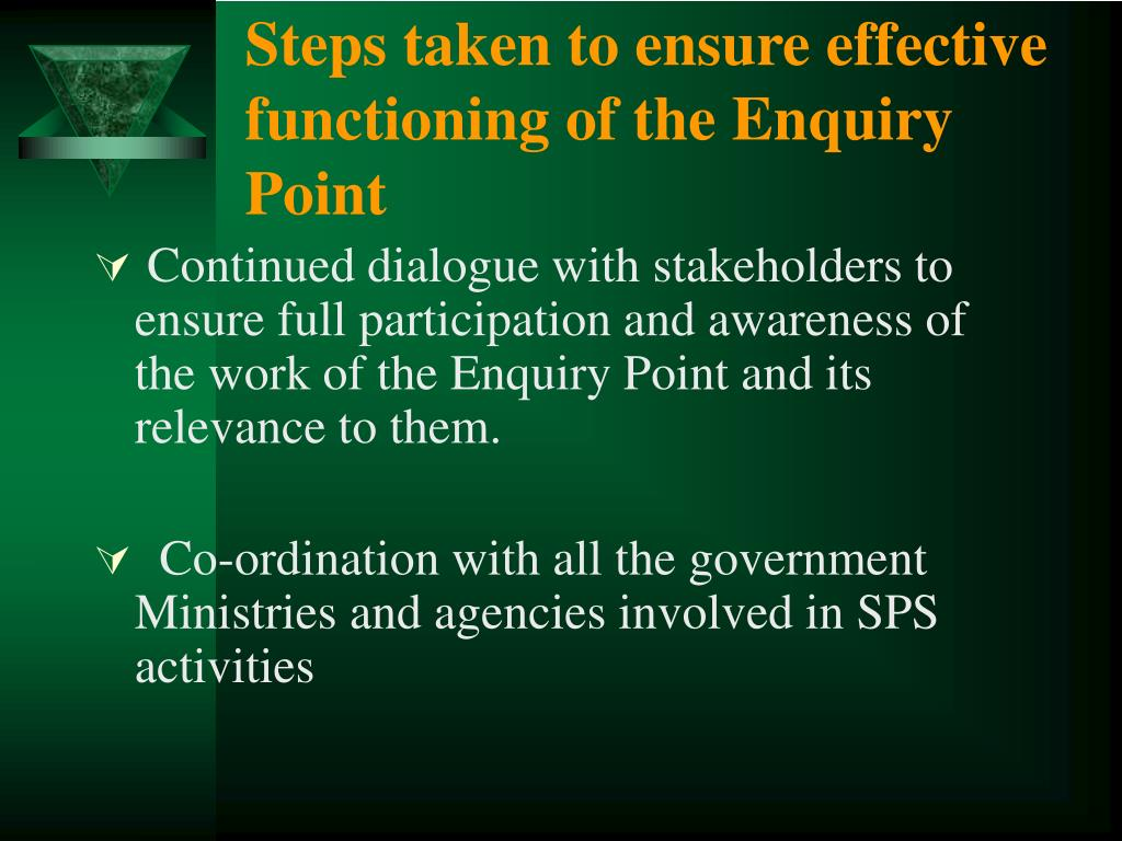 Steps taken to ensure effective functioning of the Enquiry Point