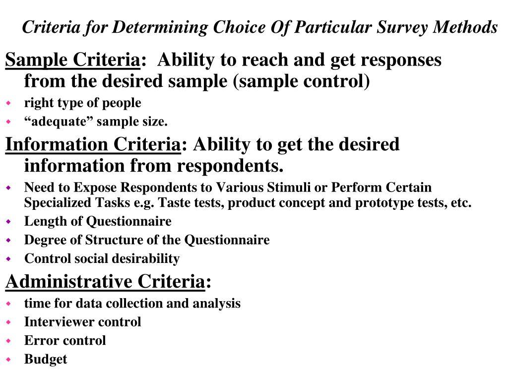 Sample Criteria