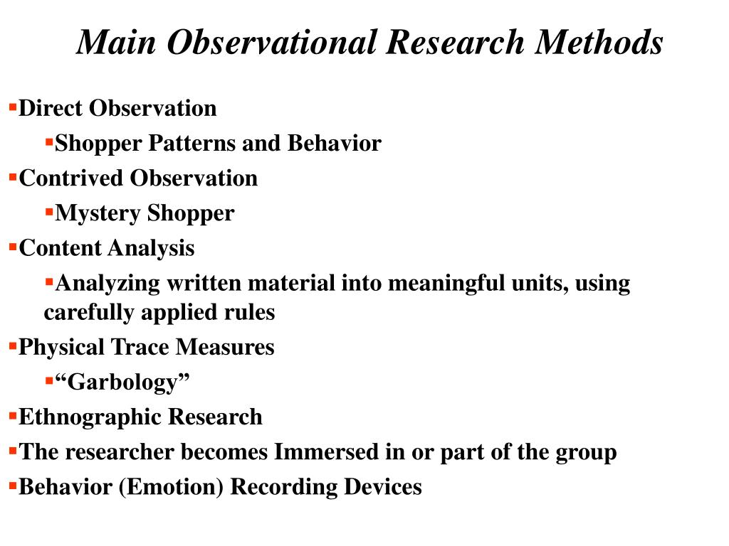 Main Observational Research Methods