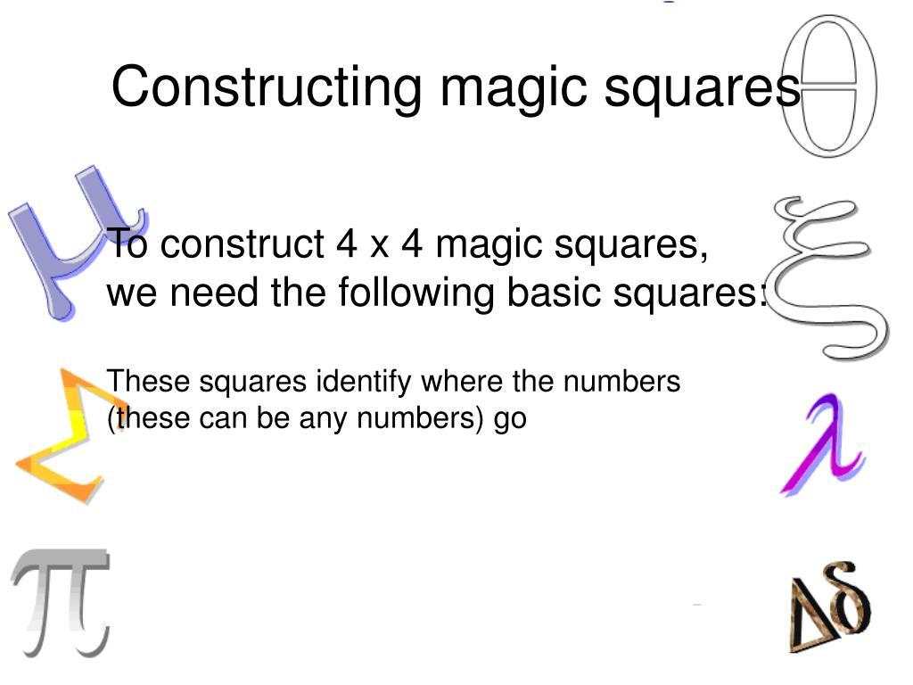 Constructing magic squares