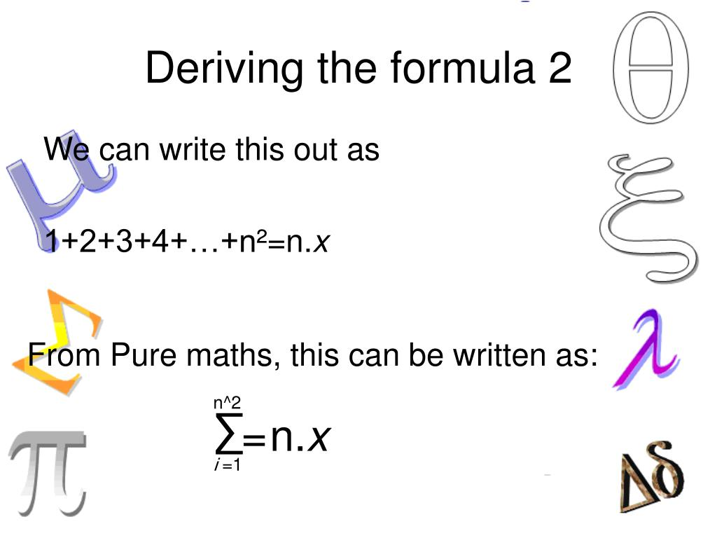 Deriving the formula 2