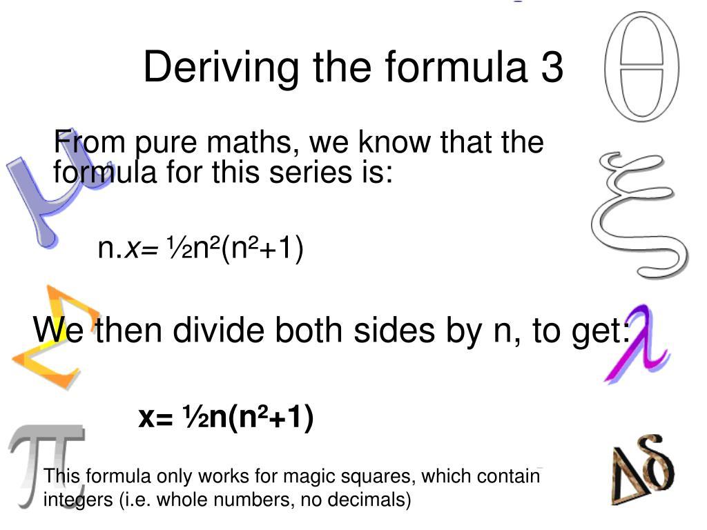 Deriving the formula 3