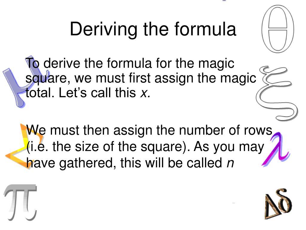 Deriving the formula