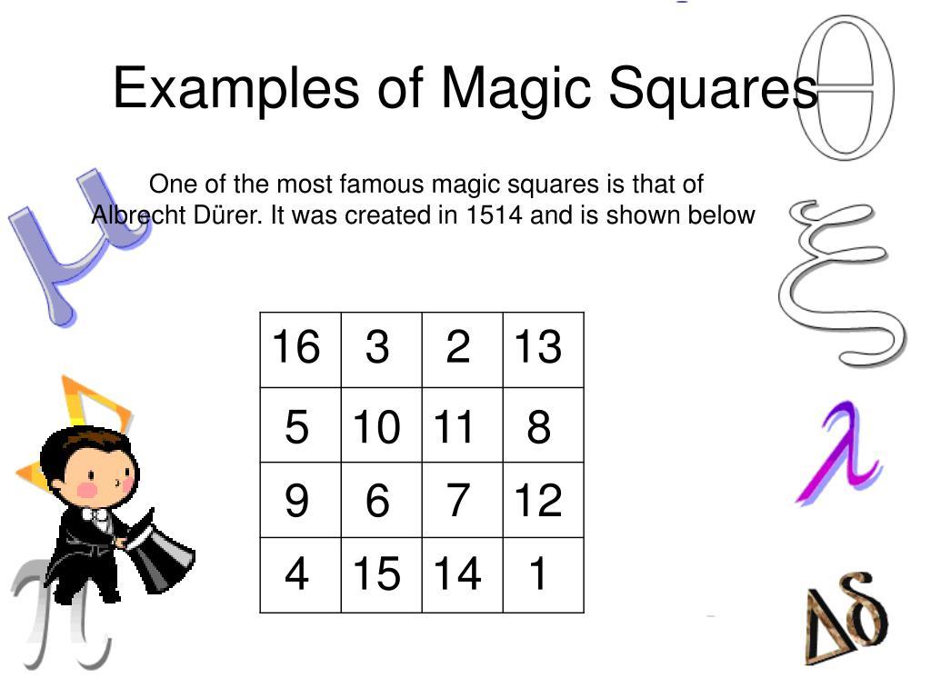 Examples of Magic Squares