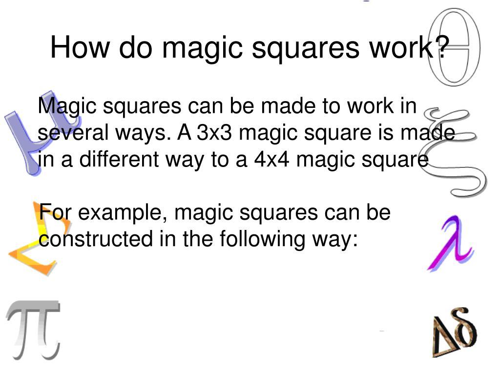 How do magic squares work?