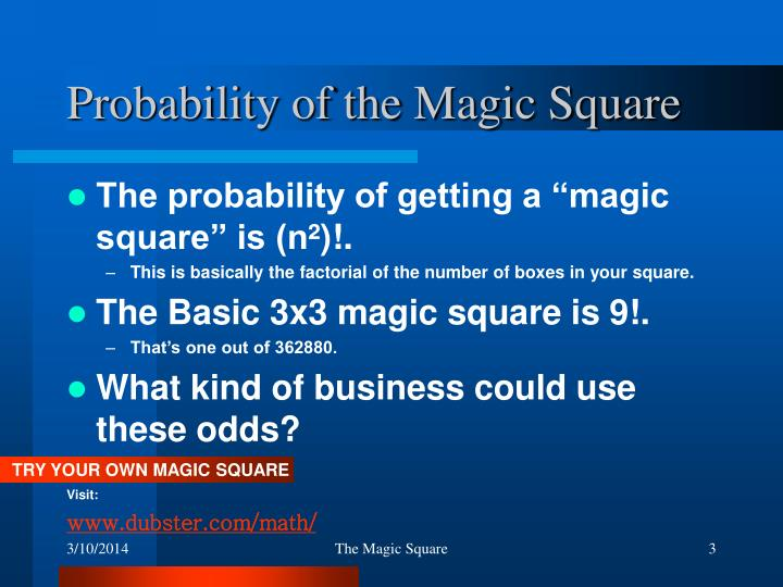 Probability of the magic square