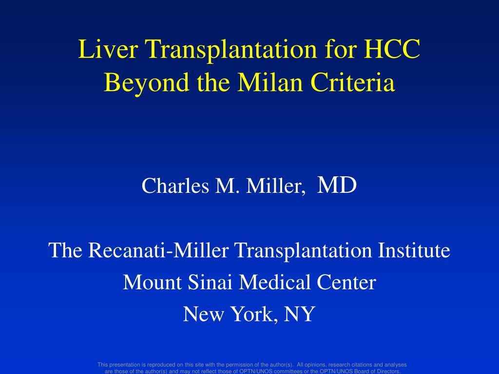 Liver Transplantation for HCC