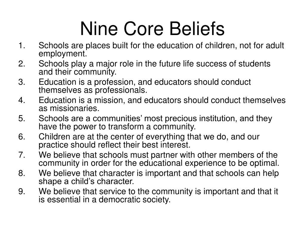 Nine Core Beliefs