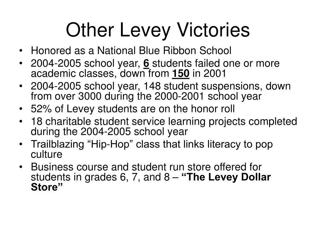 Other Levey Victories