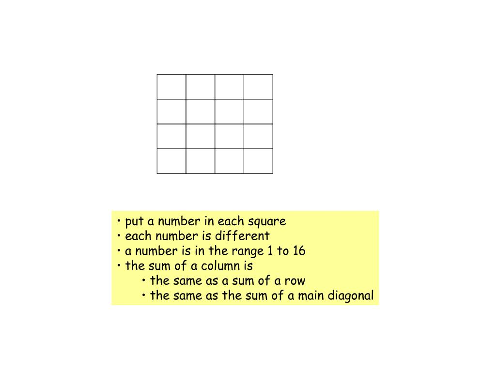 put a number in each square