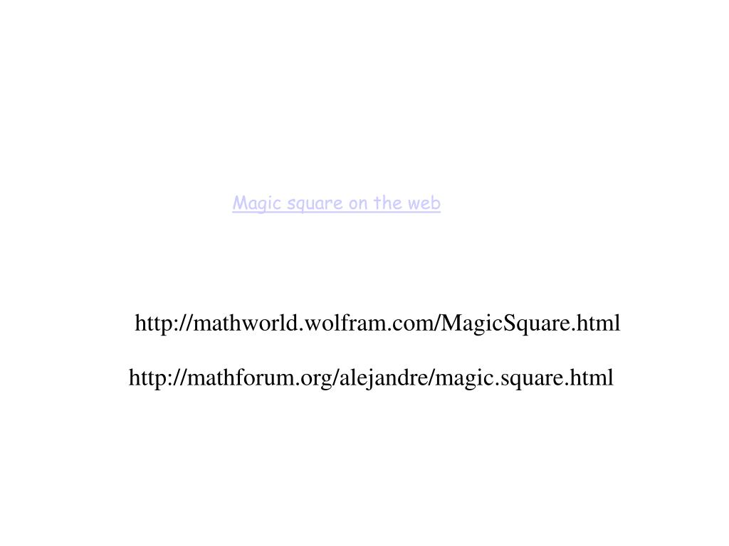 Magic square on the web