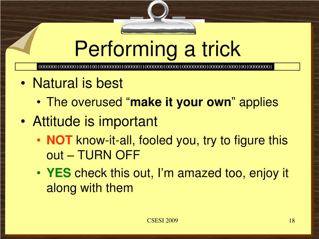 Performing a trick
