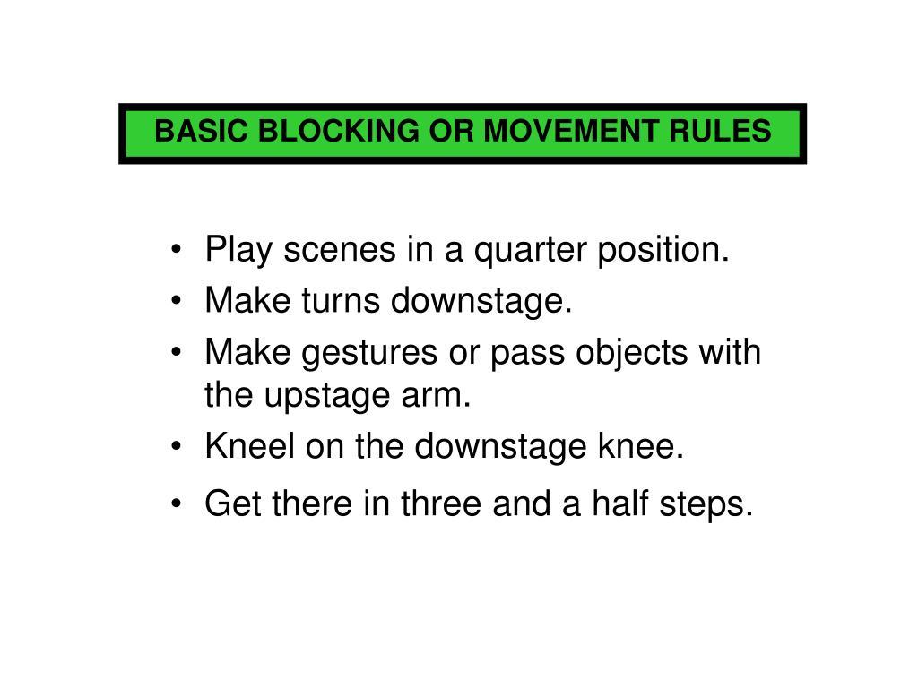 BASIC BLOCKING OR MOVEMENT RULES
