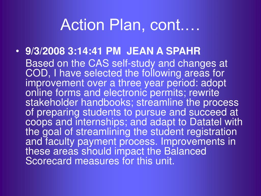 Action Plan, cont.…
